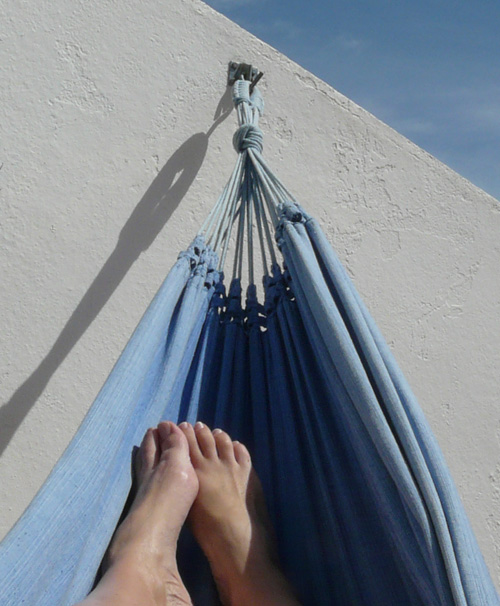 my feet in a hammock